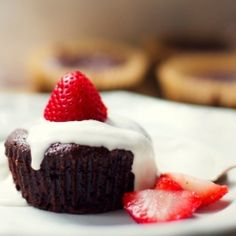 Mini flourless chocolate cakes with coconut whipped cream & strawberries (gluten free)