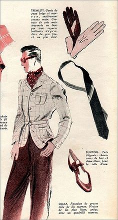 1939 summer fashion accessories for men. #vintage #mens wear #fashion #clothes #  late 1930s early 40s style illustration sportswear jacket pants shoes tie gloves ascot glasses hair