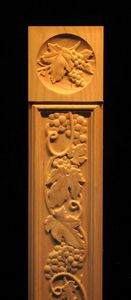 Wood Carved Column Pilaster - Carved Flutes and Integrated Rosette Italian Restaurant Decor, Flutes, Wood Carvings, Candle Sconces, Ivy, Art Reference, Turning, Vines, Wall Lights