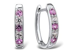White and Pink Sapphire Hoop Earrings in Sterling Silver