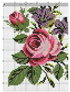 55 Flower Graphics in Cross Stitch – Gr Cross Stitch Bird, Cross Stitch Flowers, Cross Stitch Designs, Cross Stitch Patterns, Hand Embroidery Projects, Christmas Embroidery Patterns, Embroidery Stitches, Pixel Art Grid, Baby Knitting Patterns