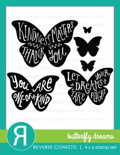 This set of 6 butterfly stamps features 3 uplifting sentiments that will make your heart flutter.  Coordinating Confetti Cuts die set available.
