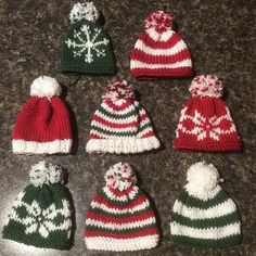 Ravelry: Mini Hats pattern by Anna Nikipirowicz Knit Christmas Ornaments, Knitted Christmas Stockings, Noel Christmas, Knitting Patterns Free, Knit Patterns, Free Knitting, Baby Knitting, Free Christmas Knitting Patterns, Knit Or Crochet