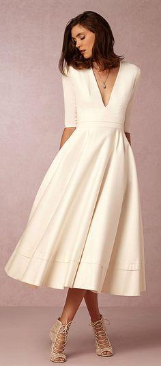 Fabulous Taffeta & Satin V-neck Neckline A-line Wedding Dresses