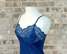 1960s slip navy blue slip Vassarette slip 60s by vintagerunway, $25.00