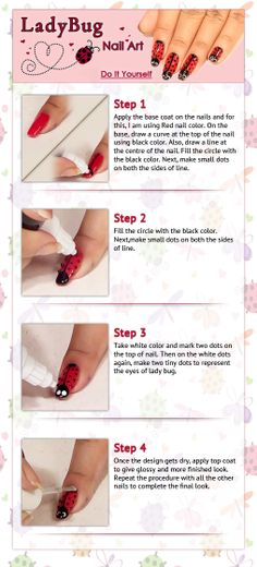 Lady Bug Nail Art - Tutorial For Beginners!!!!! https://www.youtube.com/watch?v=5yJGEGdVeqk