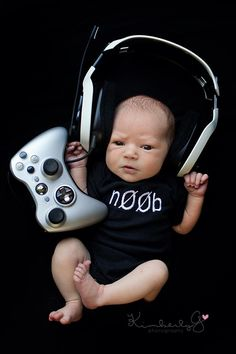 xbox gamer video game newborn photography session