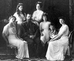 1918, Execution of the Romanovs in Yekaterinburg, July 17: From left to right: Olga, Maria, Nicholas II, Alexandra, Anastasia, Alexei, and Tatiana. Pictured at Livadia Palace in 1913.