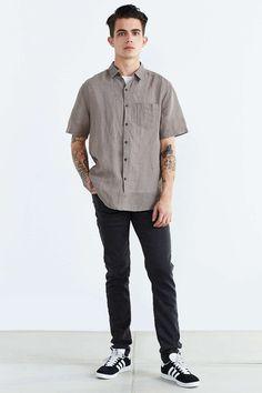 Your Neighbors Short-Sleeve Kieran Linen Button-Down Shirt
