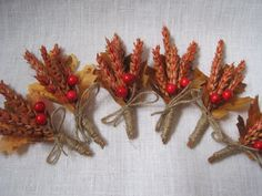 Autumn dried wheat boutonniere set of 6 wedding by FlowerDecoupage, €21.75