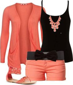 black and coral. love this.  Already have a similar cardi...might go with solid black shorts.