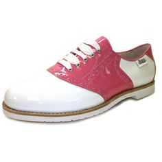 It's beauty meets bowling alley in these perfectly #pink #saddleshoes. #retro