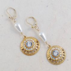 Vintage gold Wedding earrings, Swarovski crystals, white pearls, 14kt gold filled ear wires. by ChrisAllenJewelry on Etsy