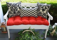 Indoor / Outdoor Cushion 3 PC Set for Bench / Swing / Glider - Red Tufted Cushion & Black Damask and Chevron Pillows - Choose Size by PillowsCushionsOhMy, $89.99