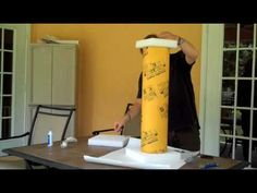 DIY Greek Pillar- made out of a concrete form tube from the hardware store and foam pieces.