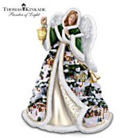 Thomas Kinkade Serena, Angel Of Light Figurine Christmas Figurines, Christmas Angels, White Christmas, Hi Pics, Thomas Kinkade Christmas, Thomas Kincaid, Art Thomas, Bride Dolls, Barbie Princess