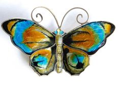 David Andersen, Norway sterling and enamel butterfly brooch.