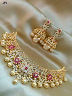 Fancy Jewellery, Gold Jewellery Design, Jewellery Earrings, Jhumkas Earrings, Gold Jewelry, 1 Gram Gold Jewellery, Gold Necklace, Indian Bridal Jewelry Sets, Wedding Jewelry Sets