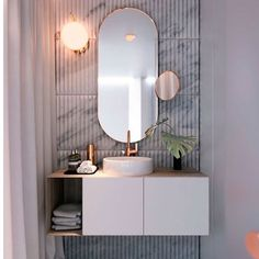 chic marble, oval mirror | white, grey, copper
