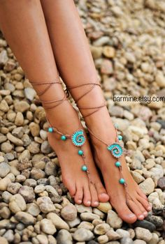 Beach wedding Seashells Tan and Aqua Crochet bridal Barefoot Sandals, Nude shoes, Bridal foot jewelry, Turquoise gemstone Anklet                                                                                                                                                                                 Mais