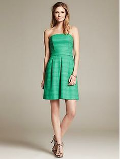 Green Strapless Dress | Banana Republic