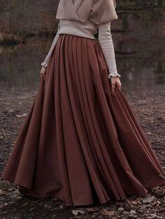 Cotton-Blend Solid Casual Skirts - Coffee S Street Hijab Fashion, Muslim Fashion, Modest Fashion, Fashion Dresses, Long Skirt Fashion, Apostolic Fashion, Modest Dresses, Modest Outfits, Skirt Outfits