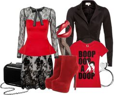 """""""Red boots"""" by troff ❤ liked on Polyvore"""