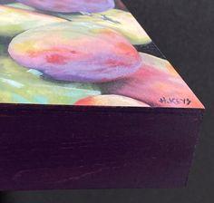 Mini mango 6x6 oil with painted edges Painting Edges, Mango, Original Art, Alcohol, Oil, Watercolor, Artist, Design, Manga