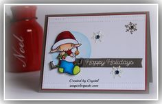 Elf at work getting ready for Santa's big night using My Favorite Things Santa Elves stamp set.