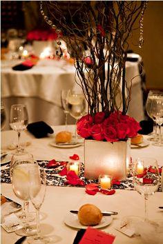 Hot Pink and Black Centerpiece Idea #realwedding