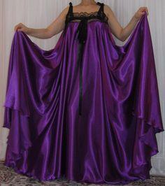 VTG Lingerie Silky Satin Slip Negligee FULL Sweep Babydoll LONG Nightgown M-6X