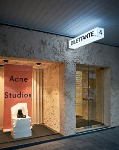 Acne Studios render stucco dilettante Ultimate Graphics Designs is your one stop shop for all your Graphics And Video Solutions! Boutique Interior, Studio Interior, Retail Interior, Shop Interior Design, Retail Design, Store Design, Shop Signage, Retail Signage, Signage Design