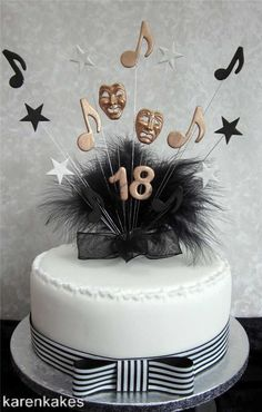 MUSICAL THEATRE CAKE TOPPER WITH TRAGEDY COMEDY MASKS ANY AGE