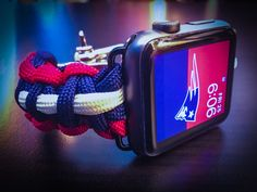 Apple Watch New England Patriots Paracord Band, 42mm & 38mm - Stainless Steel Adjustable Clasp, MilSpec cord, NFL, The Pats, AFC East