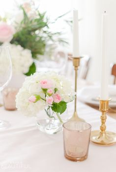 Romantic Valentine's Day Centerpiece and Tablescape