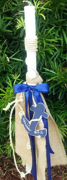 Anchor nautical baptism candle with burlap Nautical Baptism, Baby Boy Baptism, Christening Themes, Baptism Candle, Greek Wedding, Crafts For Boys, Party Themes, Burlap, Baptism Ideas