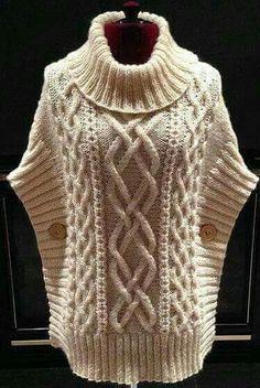 Crochet Sweater Vest Pattern 21 Ideas For 2019 Baby Knitting Patterns, Crochet Poncho Patterns, Knitted Poncho, Knit Cowl, Knitting Ideas, Cable Knit, Crochet Pullover Pattern, Knit Crochet, Vest Pattern