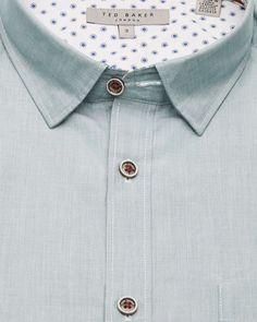 Textured cotton shirt - Green | Shirts | Ted Baker