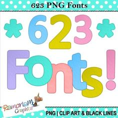 Lightly textured, bright and colorful Font Clip art. 623 Upper/Lower case letters, numbers and symbols in 6 beautiful colors. Each image is in PNG format & 300dpi.