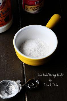 Baking powder substitute  Ingredients  1 1/2 teaspoons baking soda   1 1/2 teaspoons cream of tartar  Instructions  1.Whisk together the baking soda and cream of tartar. Use immediately.   2.Creates 1 Tablespoon baking powder.