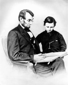 """""""President Abraham Lincoln reading the Bible to his son, Tad, Photograph by Anthony Berger. Courtesy Library of Congress"""" American Presidents, Us Presidents, American Civil War, American History, Abraham Lincoln Biography, Abraham Lincoln Family, Today Is National, Civil War Photos, Art Institute Of Chicago"""
