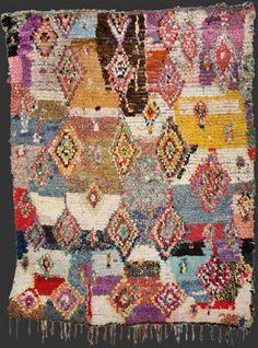 bs126, Moroccan  vintage boucherouite rag rug, 215 x 170 cm / 7' 2'' x 5'  8''