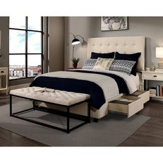 Republic Design House Manhattan Queen-Size Ivory Tufted Headborad, Storage Bed, and Tufted Flat Bench