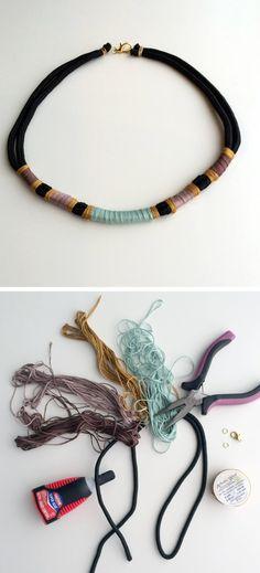 Pastel thread wrapped rope necklace / light blue por nutmegan