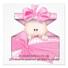 Pink Baby Girl Shower Invitation or Announcement #babyshower #invitation #babies #funny #art #zazzle #girls #pink