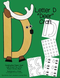 Zoo Letter Craft - D for Deer Letter N Crafts, Preschool Letter Crafts, Abc Crafts, Alphabet Crafts, Letter D, Preschool Activities, Art Classroom, Classroom Ideas, Abc Zoo