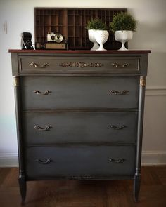 "100 Likes, 13 Comments - Krissy Pastore (@colorfulhomedesigns) on Instagram: ""Vintage Empire Style dresser finished in Annie Sloan Chalk Paints. I mixed Coco & Graphite to get…"""