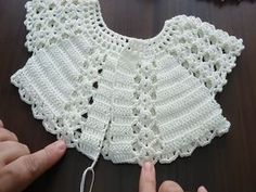Crochet Vest Pattern Knit Crochet Crochet Patterns Crochet Baby Booties Baby Girl Crochet Crochet For Kids Baby Knitting Hand Embroidery Baby Dress IG ~ ~ crochet yoke for Irish lace, crochet, crochet p This post was discovered by Ел New model, new colo Crochet Baby Jacket, Crochet Vest Pattern, Crochet Baby Clothes, Baby Knitting Patterns, Hand Knitting, Crochet Dresses, Knitted Baby, Crochet Patterns, Summer Knitting