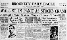 """Brooklyn Daily Eagle front page on Black Thursday (licensed by Icon Communications/Getty) from """"What the 21st century can learn from the 1929 crash"""" by Larry Elliott"""