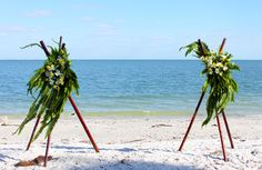 bamboo teepee or bamboo tripod decorated wedding alter --- www.aynil-fl.com
